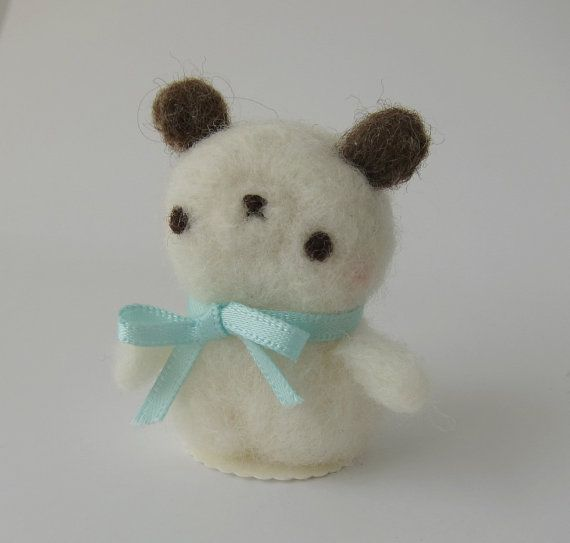 Etsy の Quiet Little Bear of Needle Felted Wool by chetanddot