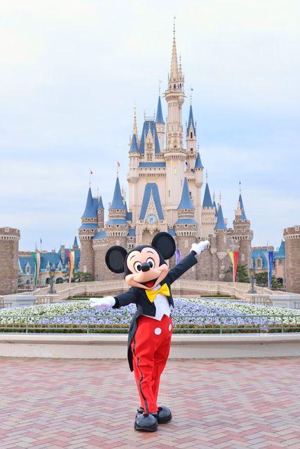 Mickey In Front Of Cinderella Castle At Tokyo Disneyland Walt