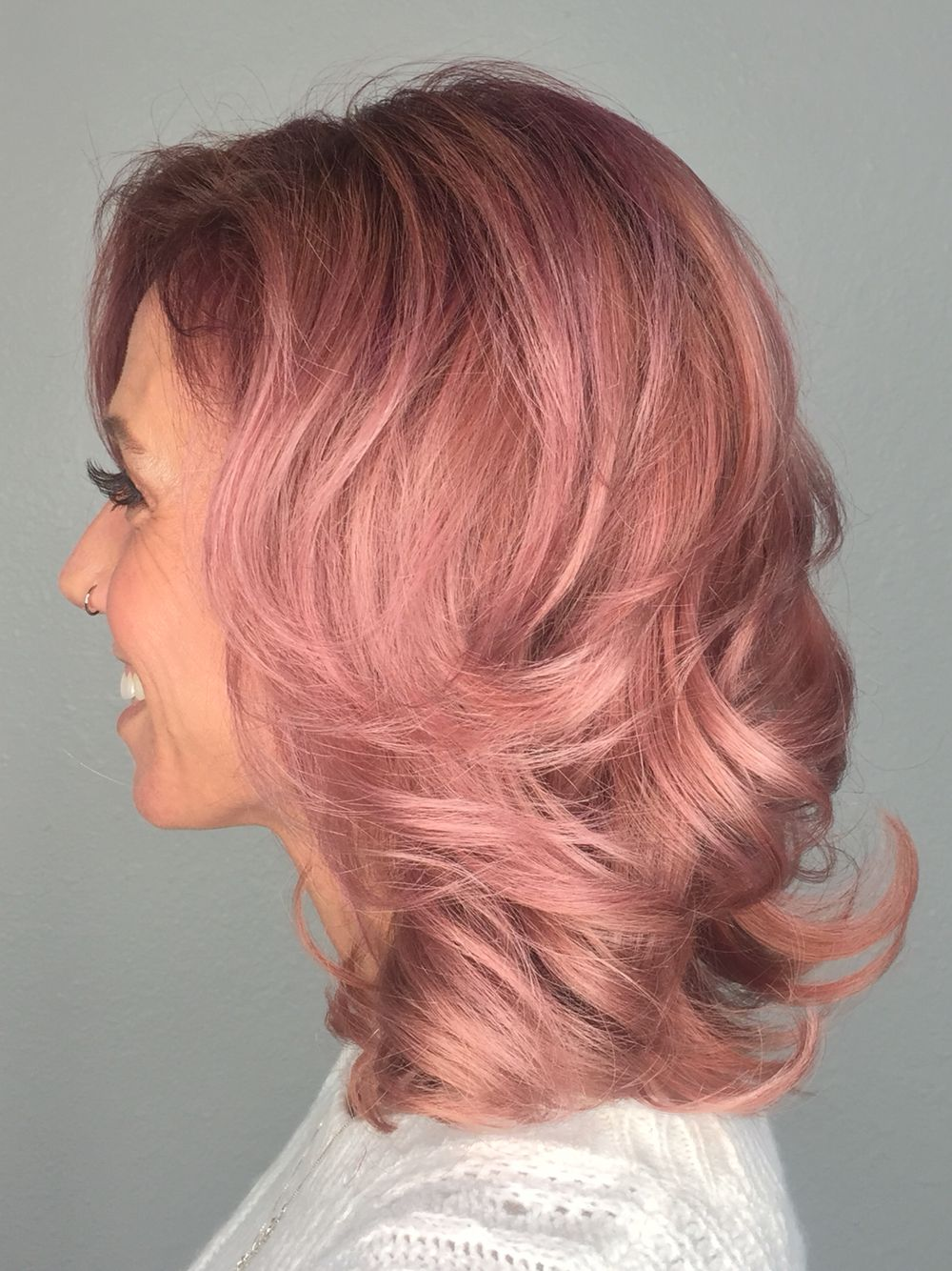 Dusty Rose/rose gold with a rooted base. I created this color using Kevin Murphy Color.Me all formulations can be found on my IG kellymallery_hairstylist