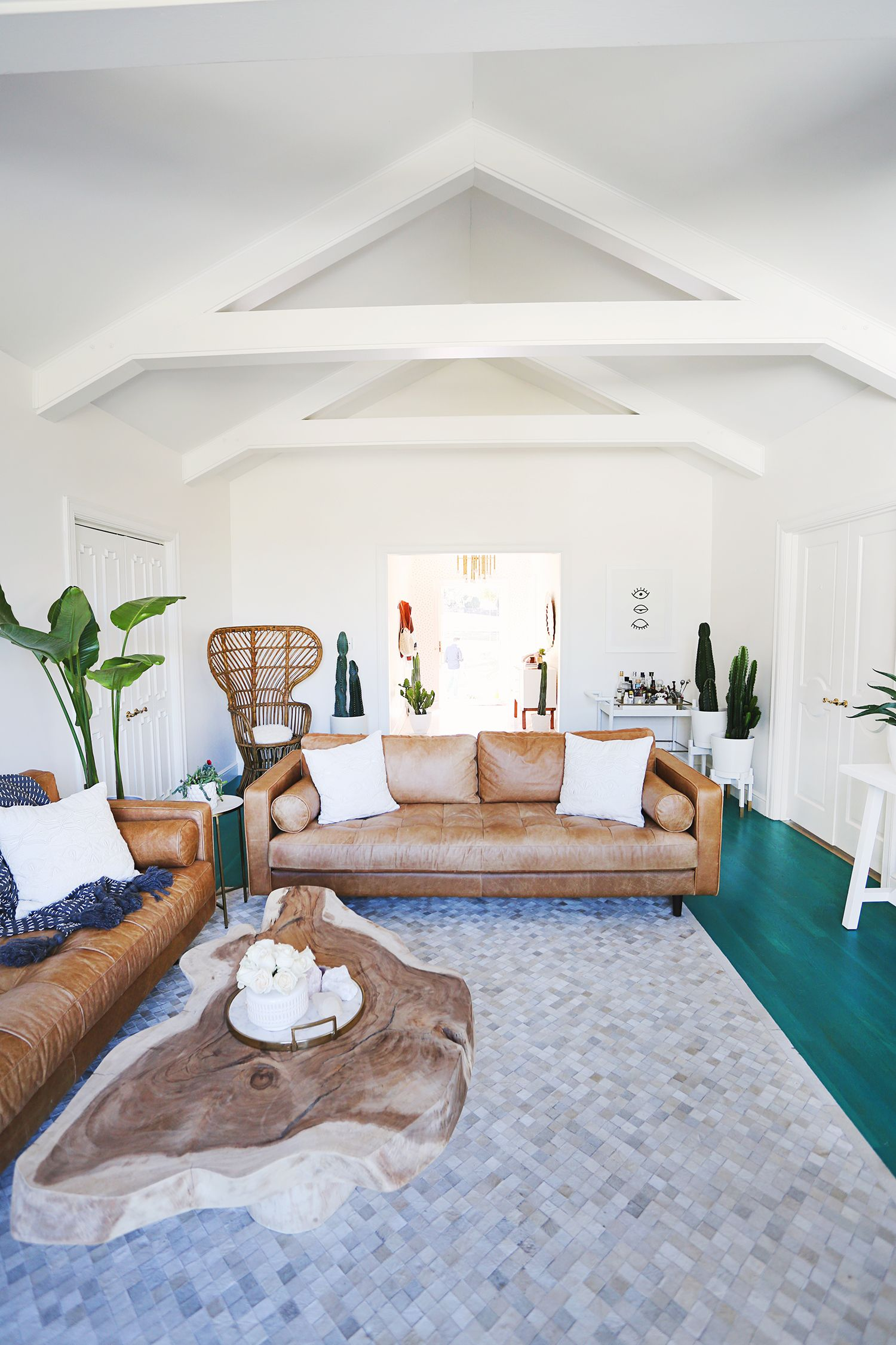 Beautiful living room makeover white walls and painted beams teal stained floor live