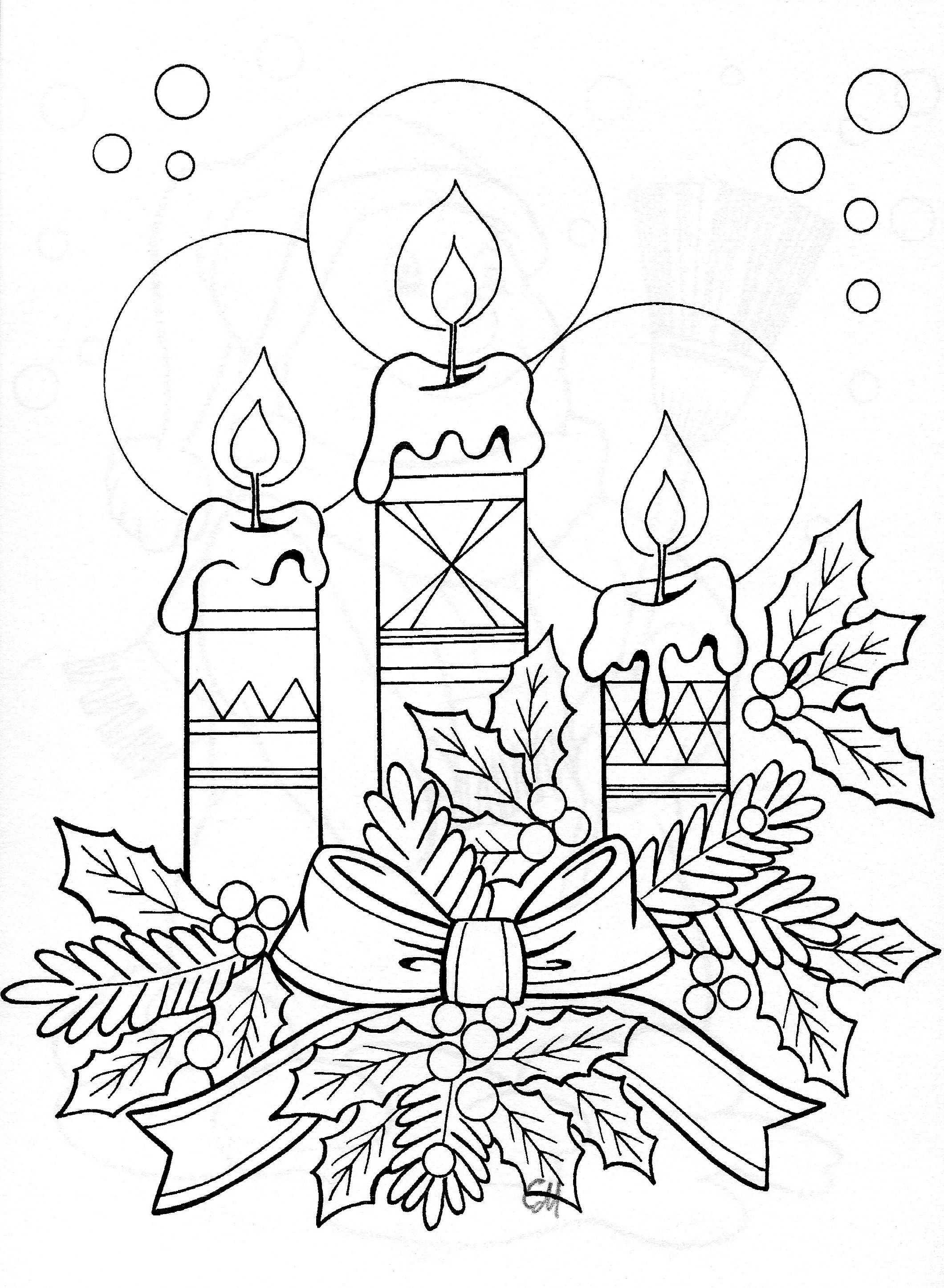 Drawing Of Candle Arrangement Christmas Coloring Pages