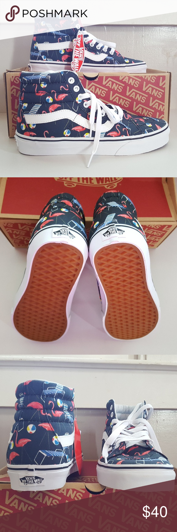 NWT VANS Pool Vibes Fun in the Sun Shoes Fun summer print hi-top shoes.  Sturdy canvas upper. So cool and comfy. Size  Women 8 Men 6.5 vans Shoes  Sneakers 50f9d0b3d