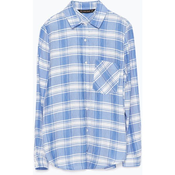 Zara Plaid Shirt With Pocket (15,330 KRW) ❤ liked on Polyvore featuring tops, shirts, pocket tops, blue shirt, tartan plaid shirt, shirts & tops ve blue top