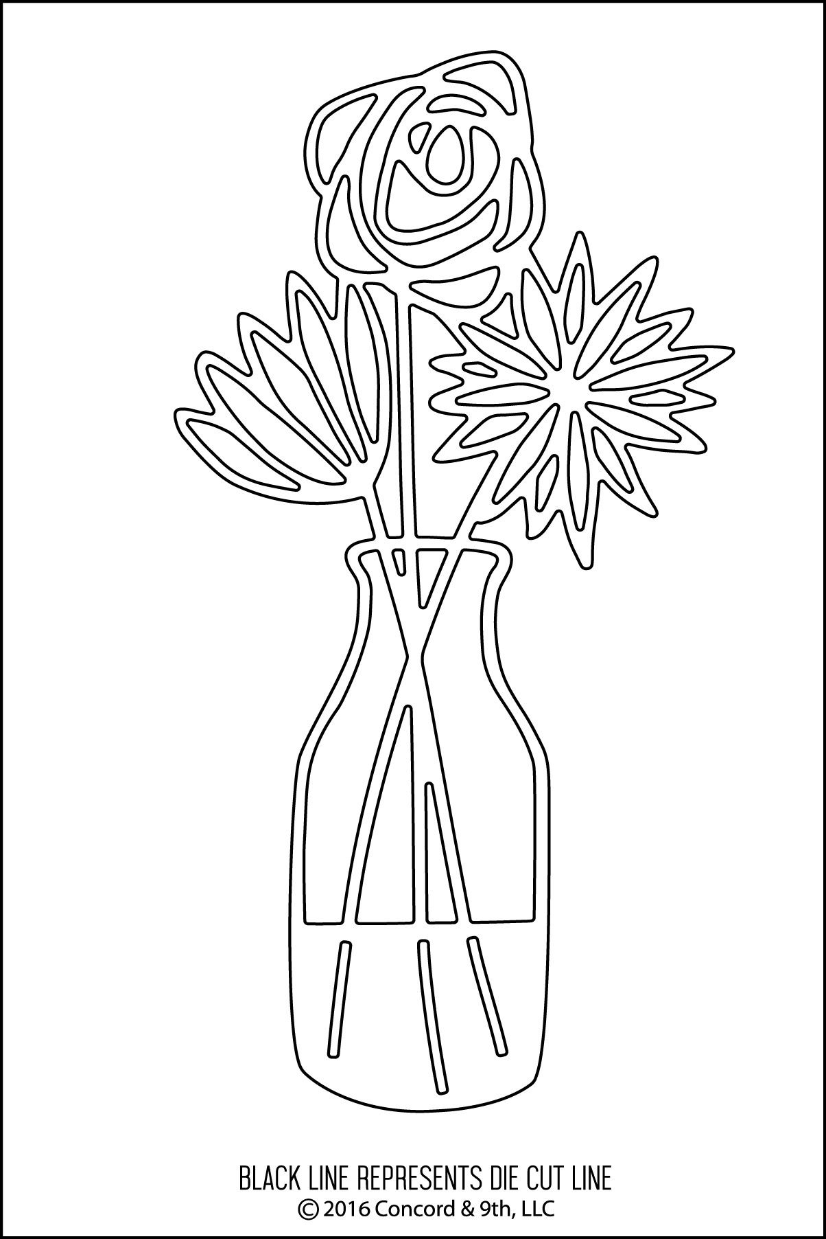 DIY: 3 Flowers in vase. Free Paper craft; stencil/template/pattern ...