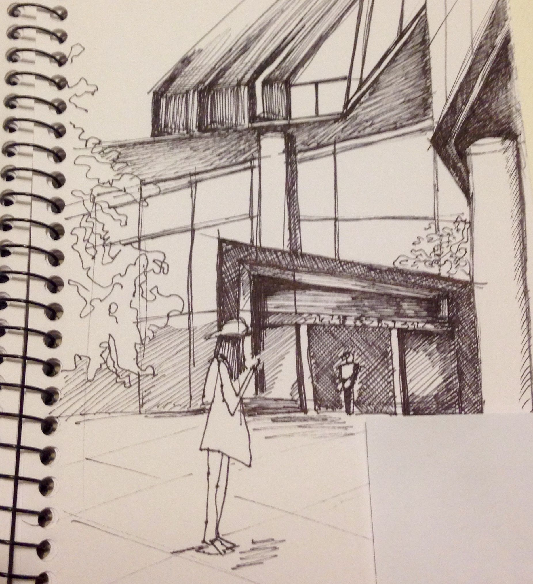 Jeffrey Smart Building Observational drawing Uni SA interior