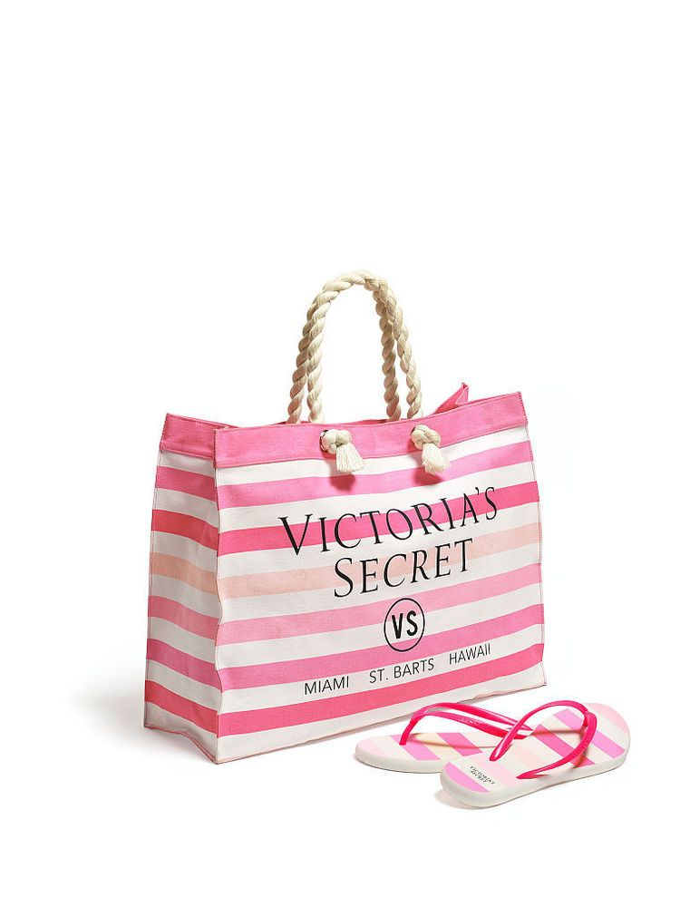 29b6f59562e1d Victoria's Secret Pink and White Striped Beach Tote and Matching ...