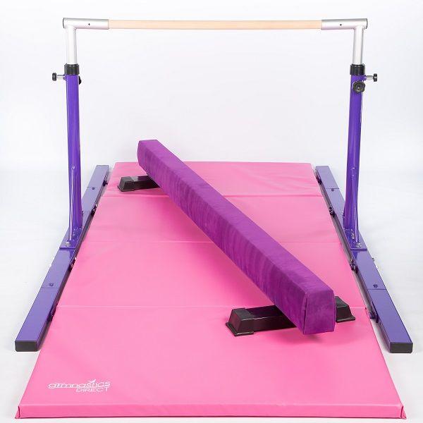 Pink and Blue Gymnastics Mat by Nimble Sports Tan Gymnastics Balance Beam
