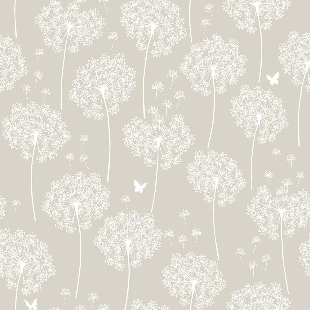 Nuwallpaper Dandelion Grey Vinyl Strippable Wallpaper Covers 30 75 Sq Ft Nu1651 The Home Depot Dandelion Wallpaper Nuwallpaper Grey Wallpaper