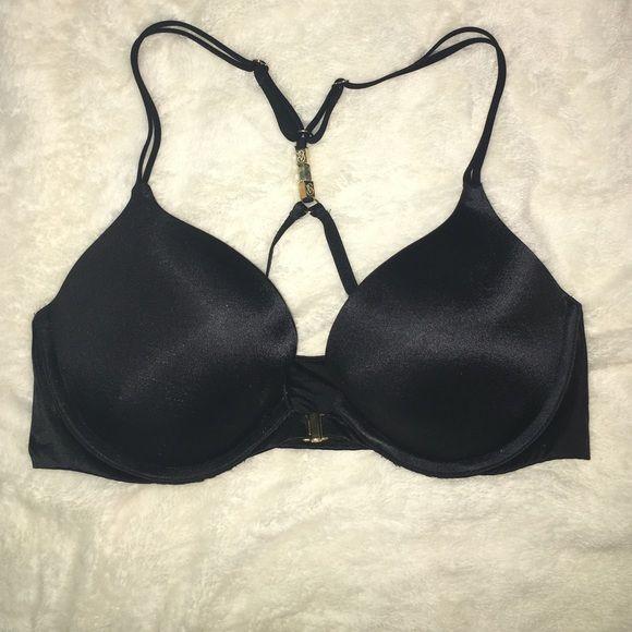 Black VS bra Black VS bra with gold front clasp and razor back with gold jewels, push up Victoria's Secret Intimates & Sleepwear Bras