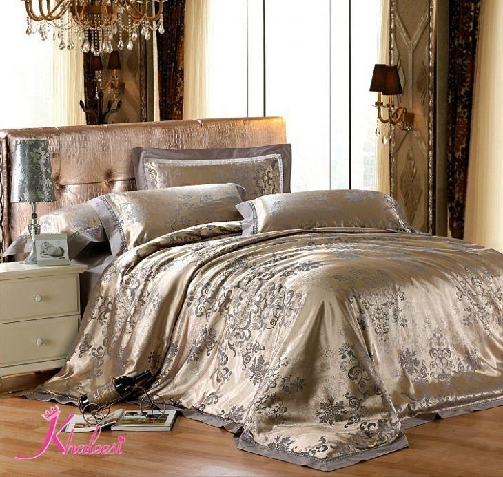 Bed Linen Decorating Ideas Part - 31: Luxury Bed Linens Silk Satin Jacquard 4pcs Silver Bedding Set