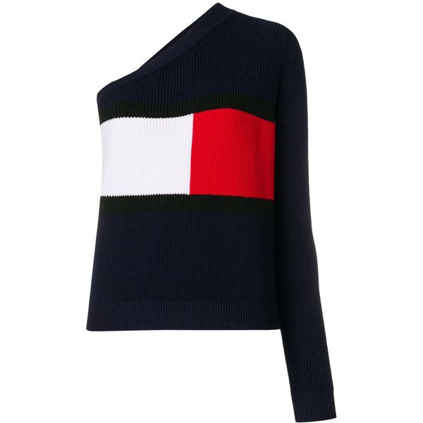 one shoulder logo sweater - Blue Tommy Hilfiger