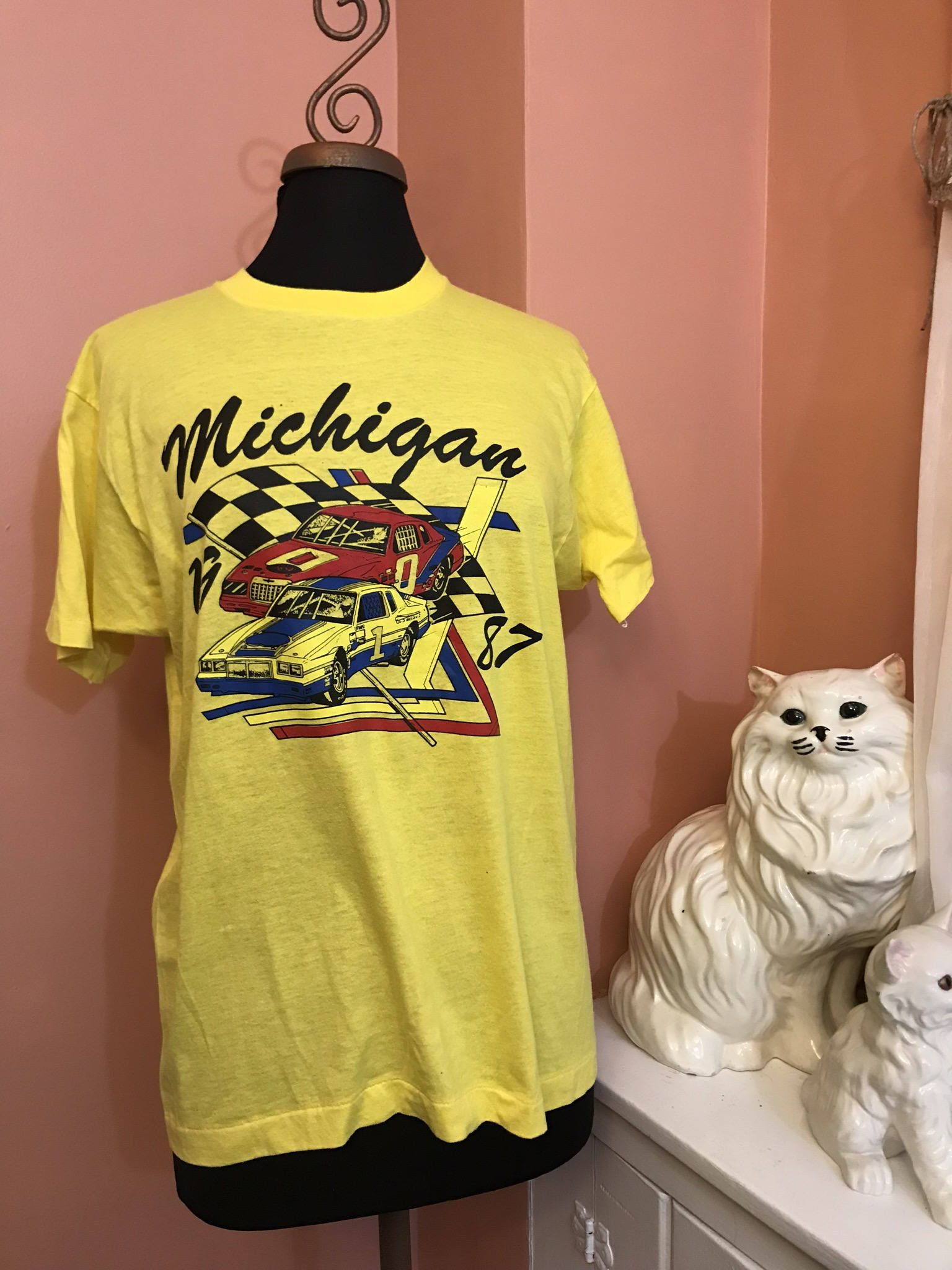 Vintage 80s T-Shirt, Screen Stars, Michigan, Muscle Car, Racecar ...