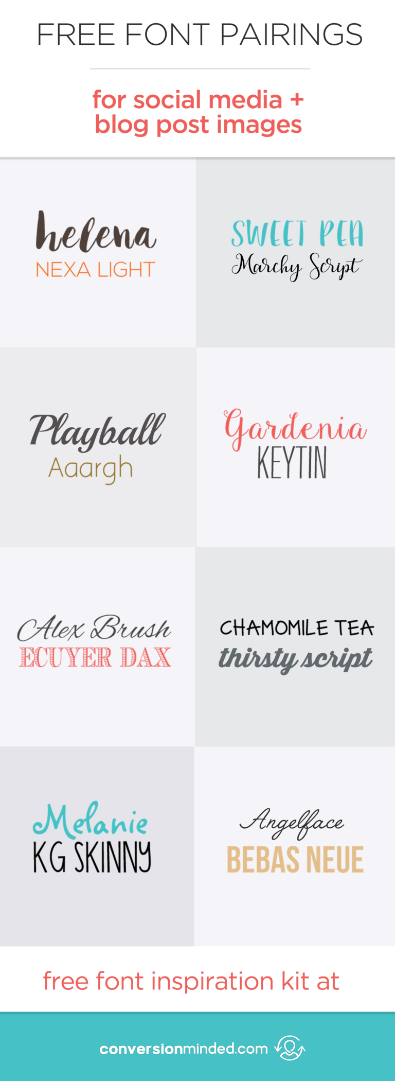 Free Fonts and Font Pairings for Web, Social Media and