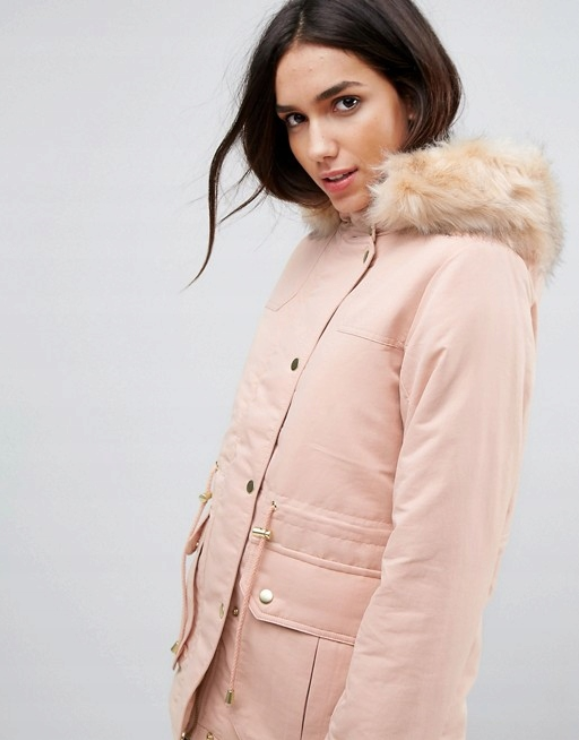 Kurtka Damska Parka Pastelowa Kurtka Kurtka Z Futerkiem Winter Jackets Coat Fashion