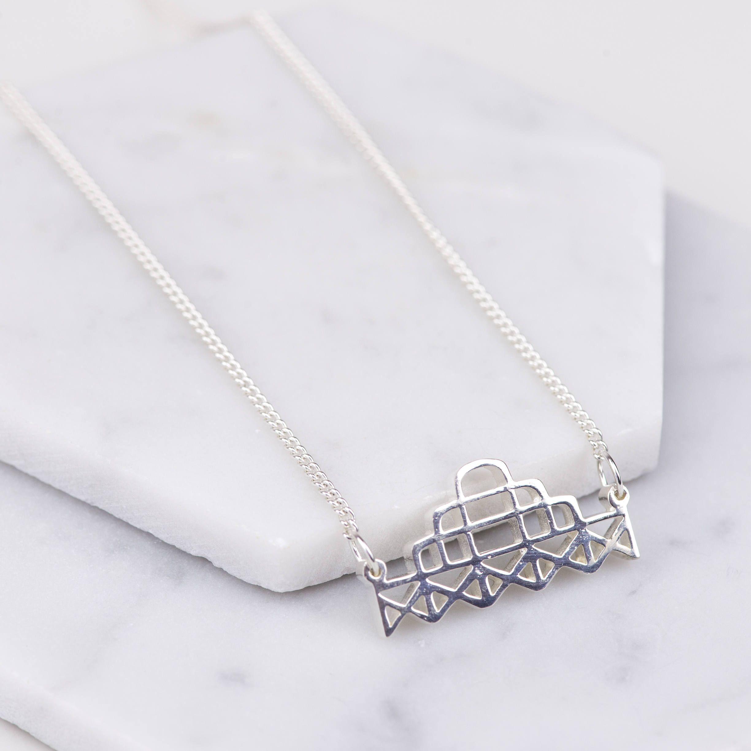 Brighton West Pier Necklace Sterling Silver Minimalist Geometric Jewellery Art Deco Seaside Necklace In 2020 Silver Geometric Jewelry Sterling Silver Necklaces