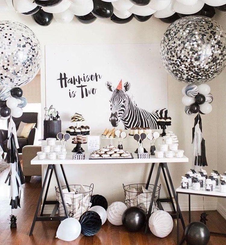 Black White Party For Madison Zebra Birthday Party Safari