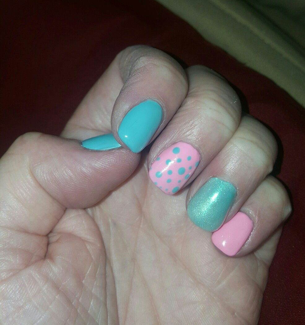 Easter nails ! Pink,turquoise, metallic and dots !