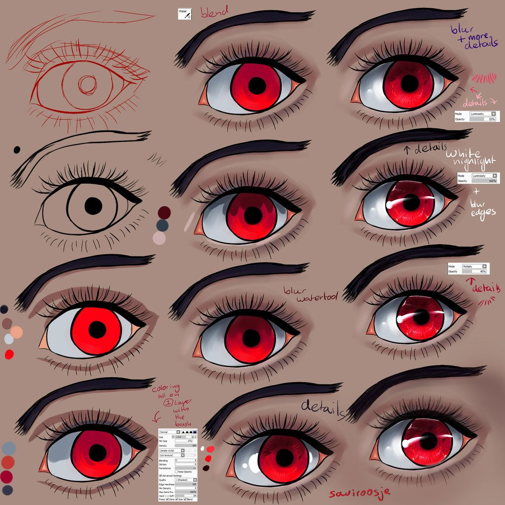 Coloring Eyes Red