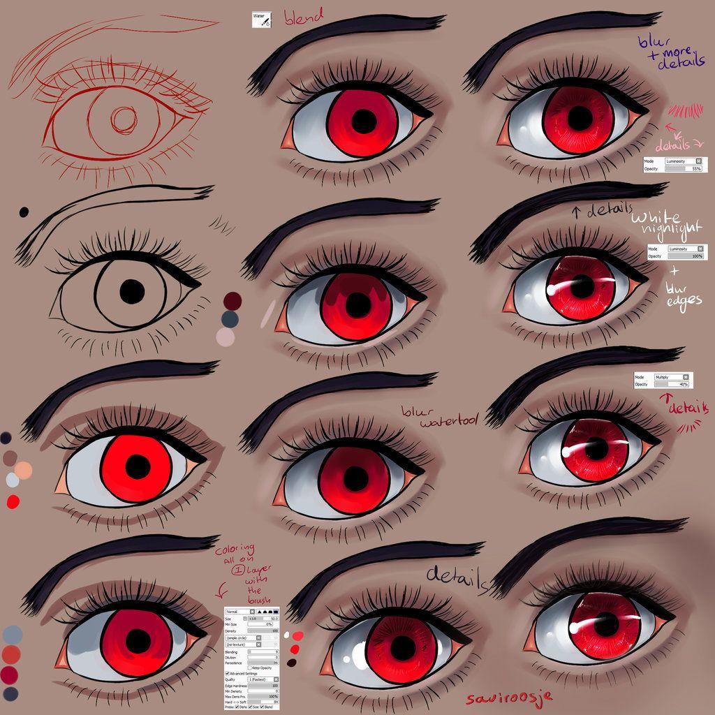 Step By Step Evil Red Eye Tut By Saviroosje On Deviantart Eye Painting Digital Art Tutorial Painting Tutorial