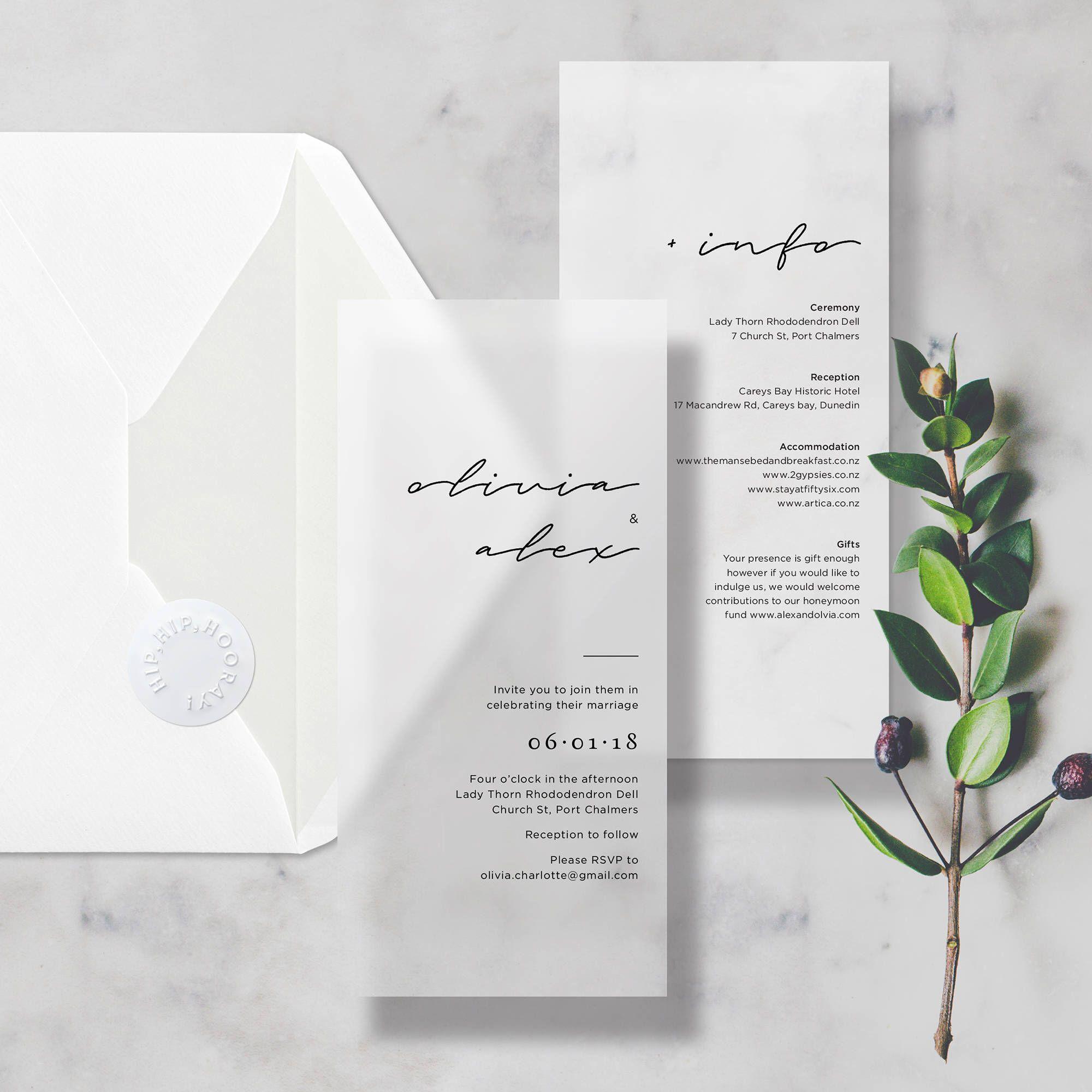 Vellum minimal translucent wedding invitationinvite includes info