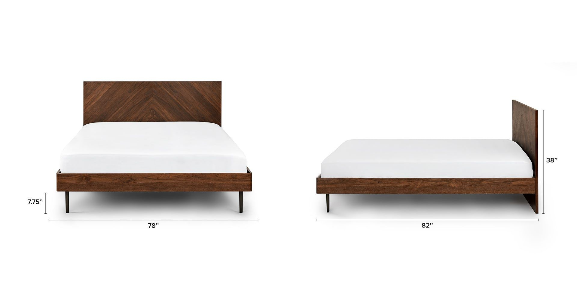 Nera Walnut King Bed King Beds Contemporary Bed Frame Modern Bed