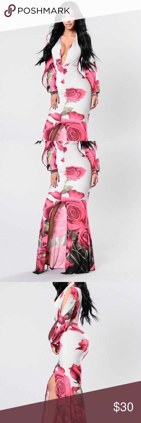 Hot pink maxi dress  Light Gray Maxi Dress with Rose Floral Design  Gray maxi Pink maxi