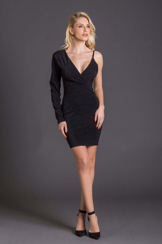 afecdc9e30f8 Μίνι αστραφτερό φόρεμα με έναν ώμο σε εφαρμοστή γραμμή. Ολοκλήρωσε το look  με over the knee boots!