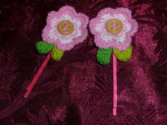 Handmade Crochet Flower  Bobby Pin Set by TrueColorsBoutique, $3.00