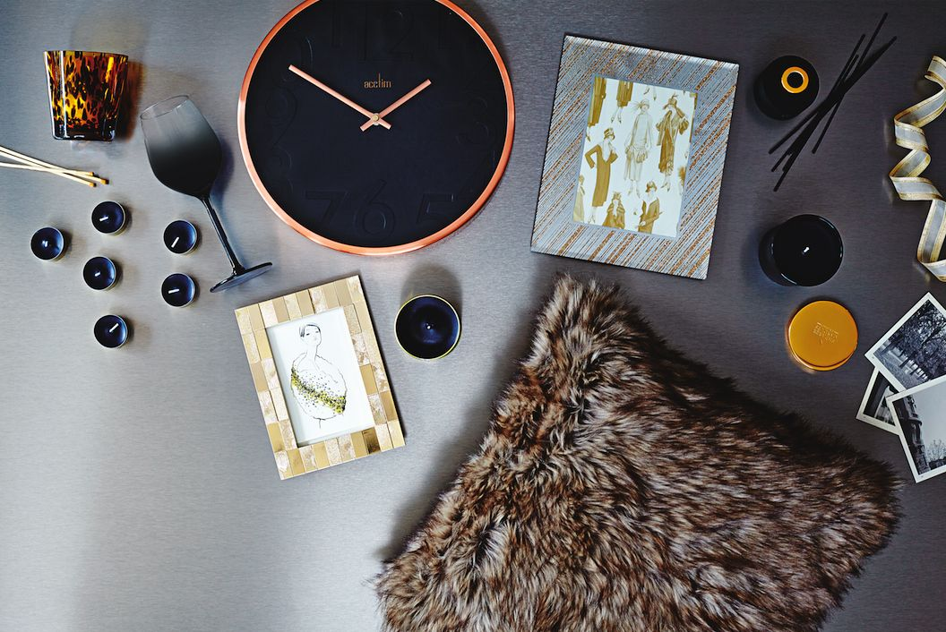 Go glam in your home by adding striking metallics faux fur and animal print accessories