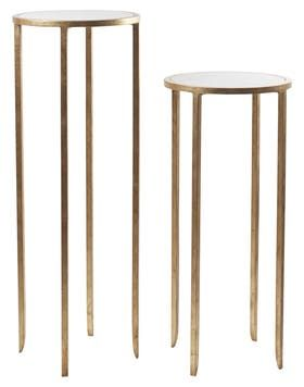 Small Round Pedestal Contemporary Metal Stone Pedestal Tables