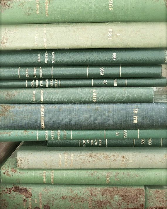 Book Photography, Green Book Art Print, Shabby Cottage Book Photo, Farmhouse Wall Art, Library Office Art, Vintage Book Art-