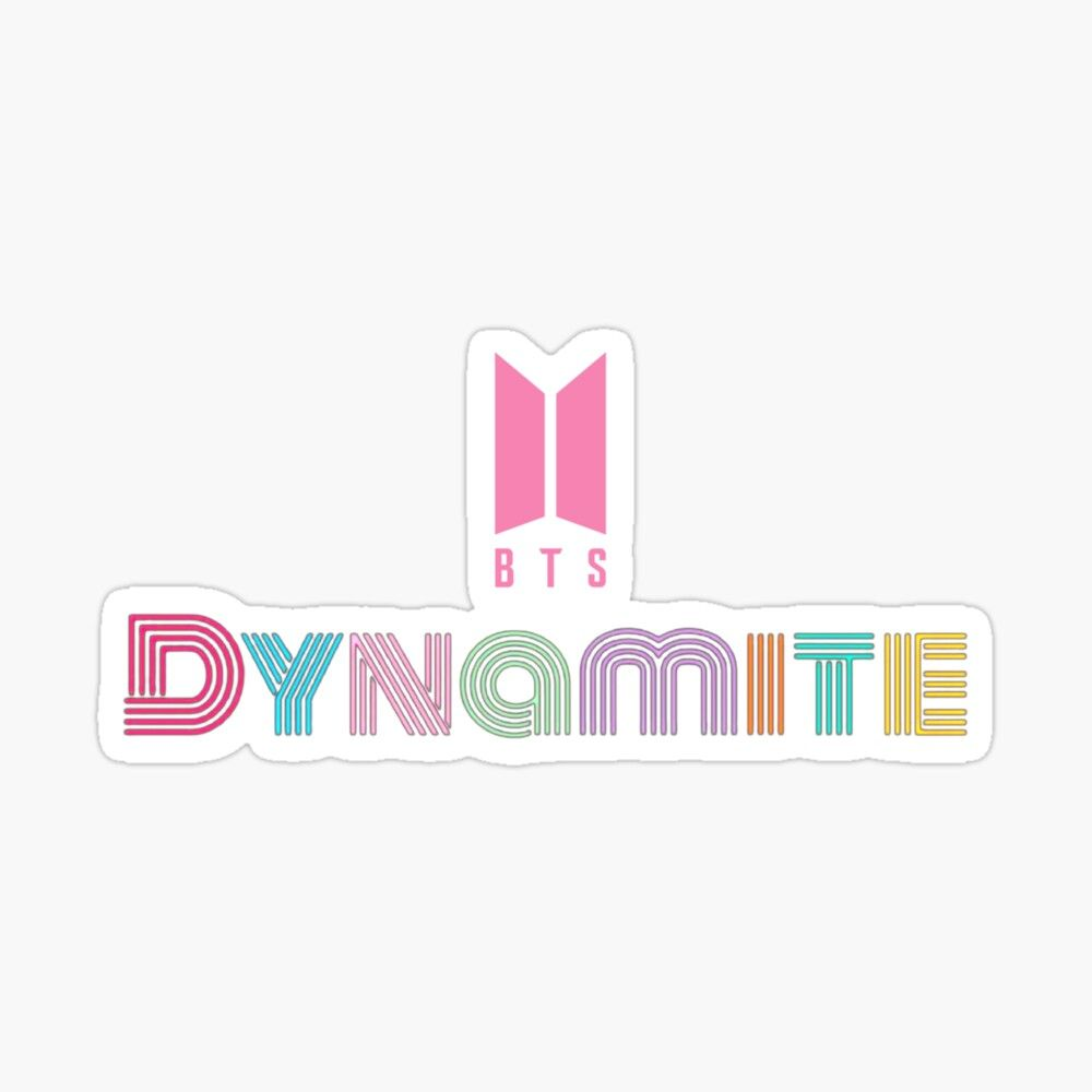 Bts Dynamite Song Colorful Design With Pink Logo Sticker By Qcstore In 2020 Print Stickers Bts Pop Stickers
