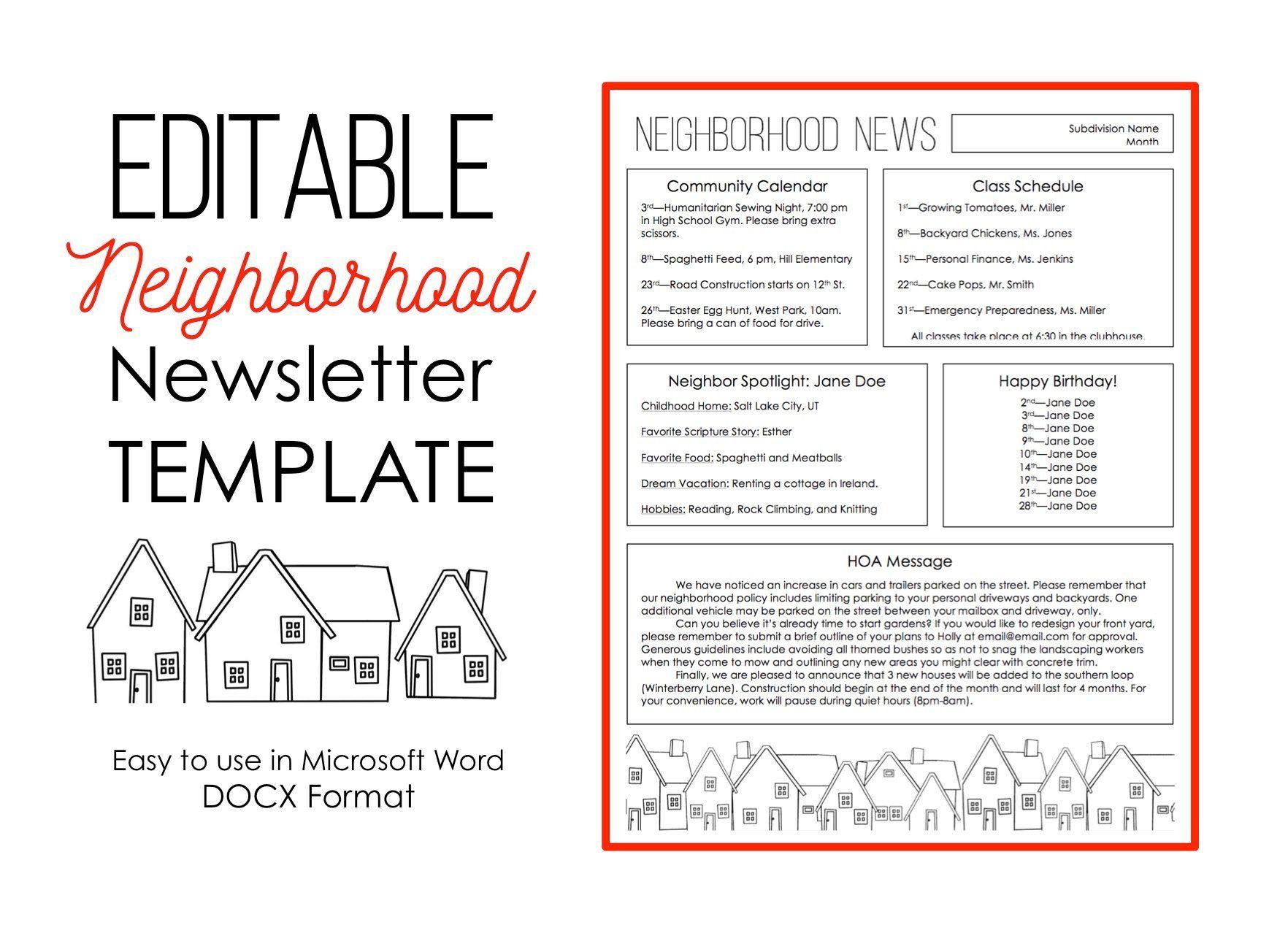 Newsletter Template For Microsoft Word Neighborhood Etsy