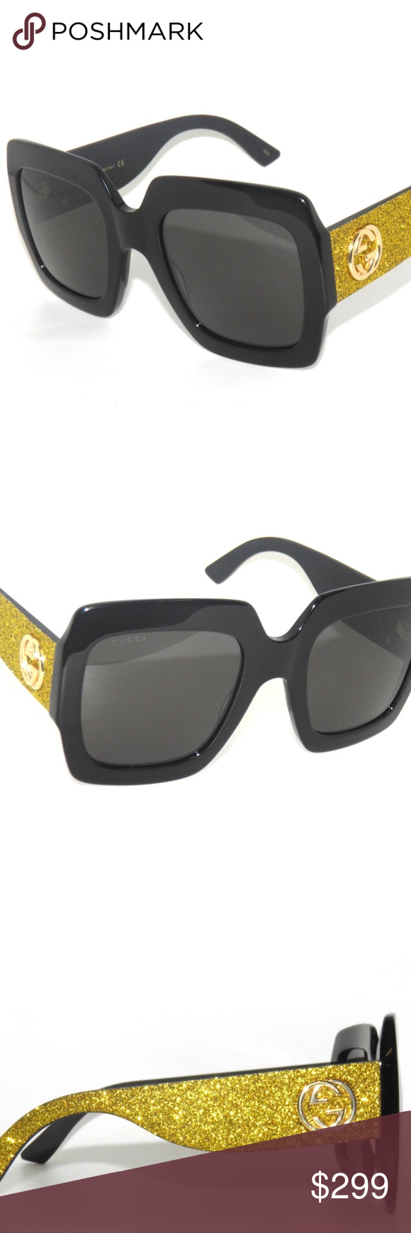 c1cf6d0a95f GUCCI GG0102S BLACK- GOLD GLITTER  GREY SUNGLASSES GUCCI GG0102S 0102S BLACK-  GOLD GLITTER