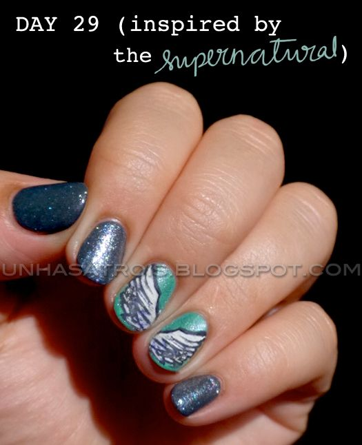 Unhas A Trois Angel Wings Nail Art 31 Day Challenge Day 29 Supernatural Nails Funky Nail Art Nails