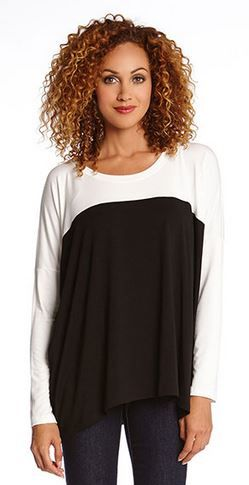 BLACK AND WHITE COLOR BLOCK TUNIC #Black_and_White #Contrast #Color #Tunic #Fashion