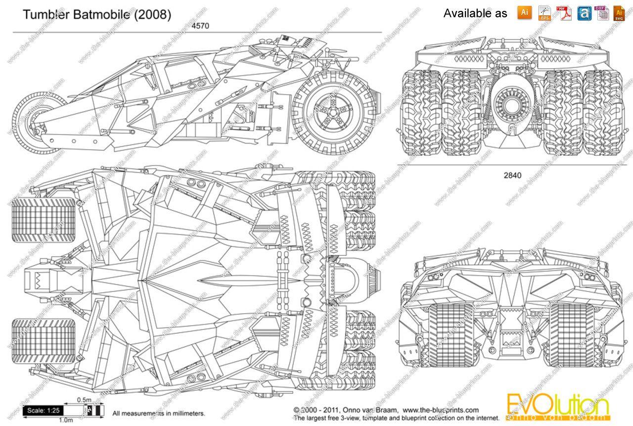 Batmobile Tumbler Blueprints