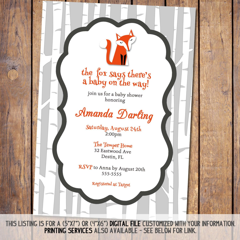 fox baby shower invitations gender neutral by JoyPribishDesigns ...