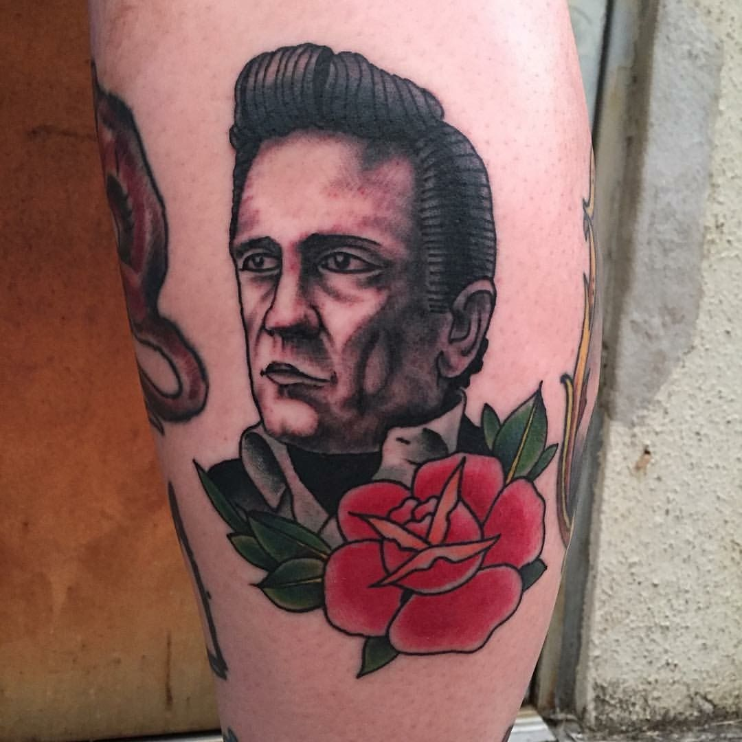 Johnny Cash American Traditional Style Tattoo From 1968 Portrait Johnny Cash Tattoo Traditional Tattoo Portrait Traditional Style Tattoo