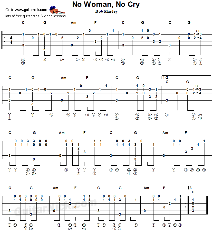 No Woman No Cry Fingerstyle Guitar Tablature Learning To Play