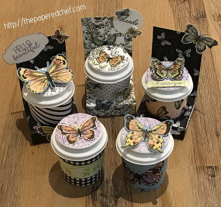 10 Projects using Botanical Butterfly dsp by Stampin' Up! - Spring Craft Fair & Easter Basket Ideas #coffeecups