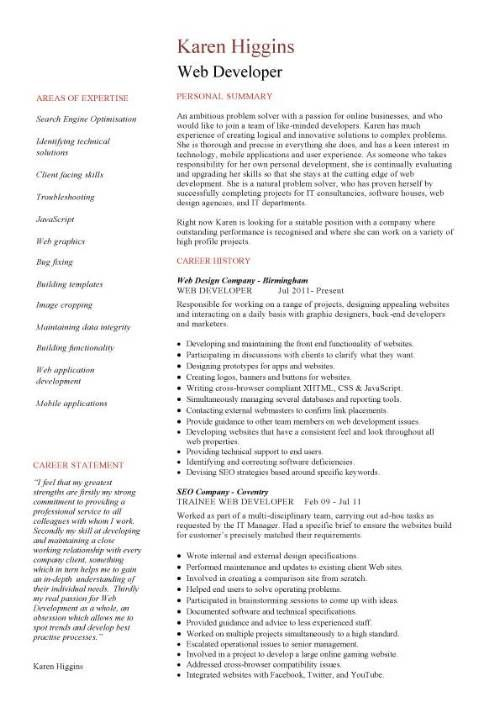 Web Developer Resume Sample (resumecompanion) Resume Samples - web design resume template