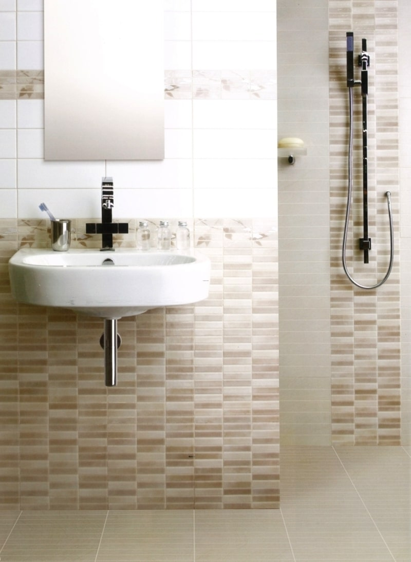 Alluring Mosaic Tiles Wall Design For Small Bathroom Space Feat Trendy Floating Sink Under Fra Modern Bathroom Tile Modern Bathroom Design Tile Modern Bathroom