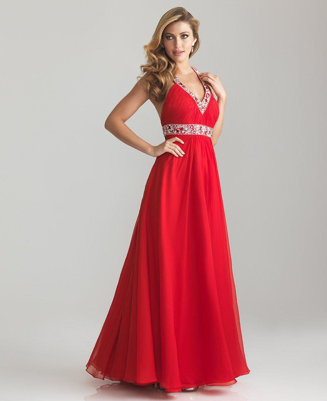 Red chiffon beaded empire waist halter prom dress unique vintage