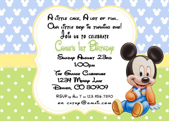 Mickey Mouse Baby Birthday Invitations By ASweetCelebration