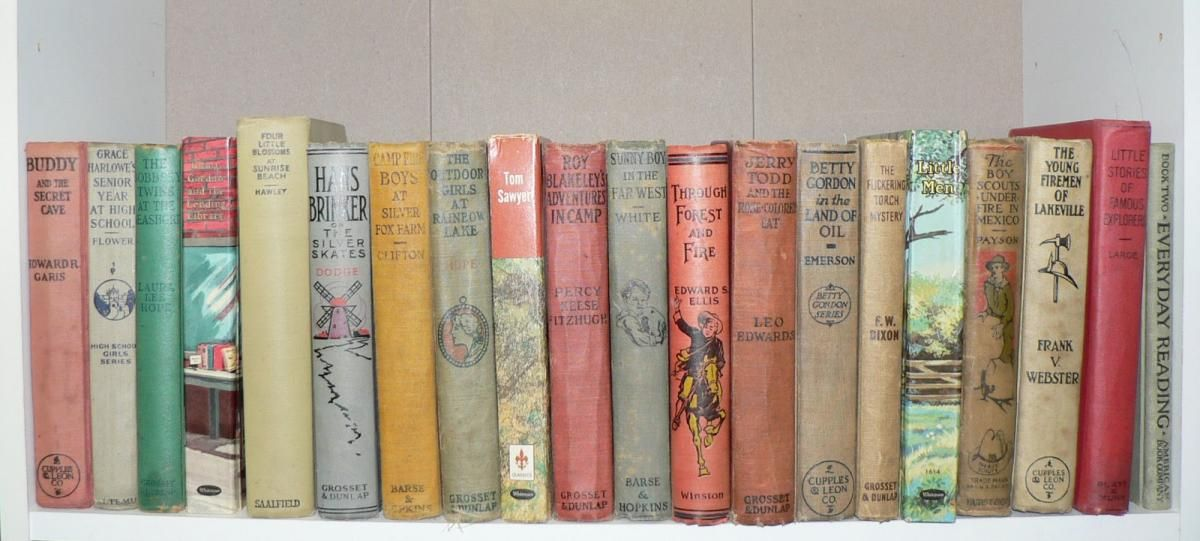 Uses For Vintage Childrens Books Lined Up On A Bookshelf Stacked The End