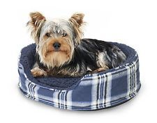 FurHaven NAP Pet Bed Oval Lounger Dog Cat Cuddler w/ pillow Midnight Blue Plaid