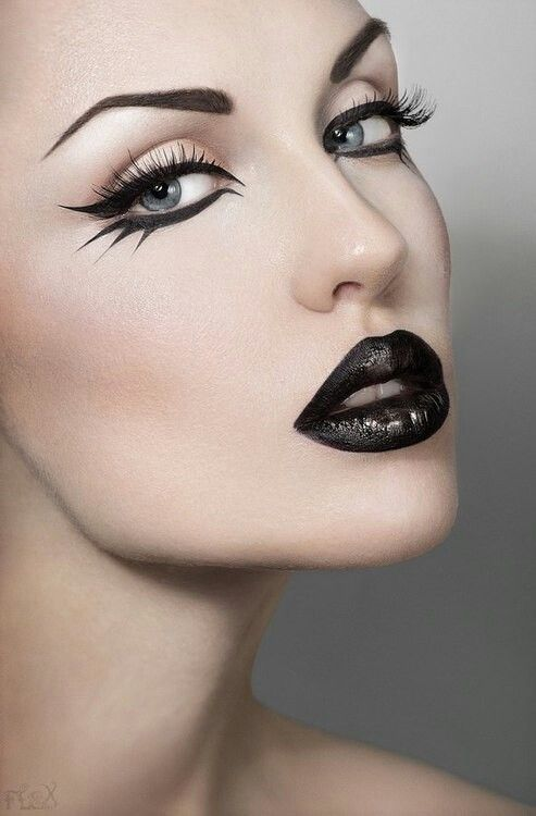 eyeliner and the lips – all in black ♥                              …