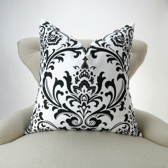 Black Damask Pillow Cover MANY SIZES black & by DeliciousPillows