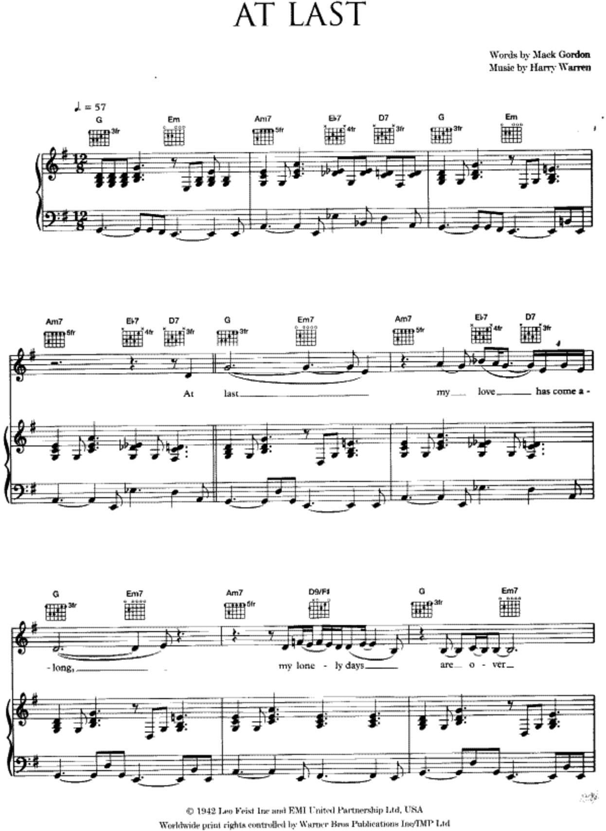 At Last Sheet Music The Bass Clef Music In 2018